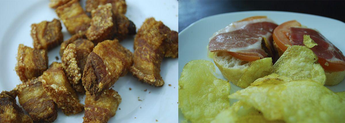 Díptico torreznos y pan con tomate_Malasaña a mordiscos_O Potiño