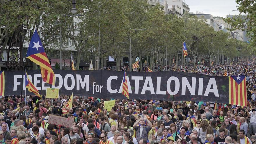 Una pancarta en la que puede leerse 'Freedom for Catalonia' ('Libertad para Catalunya') en la manifestación independentista en Barcelona.