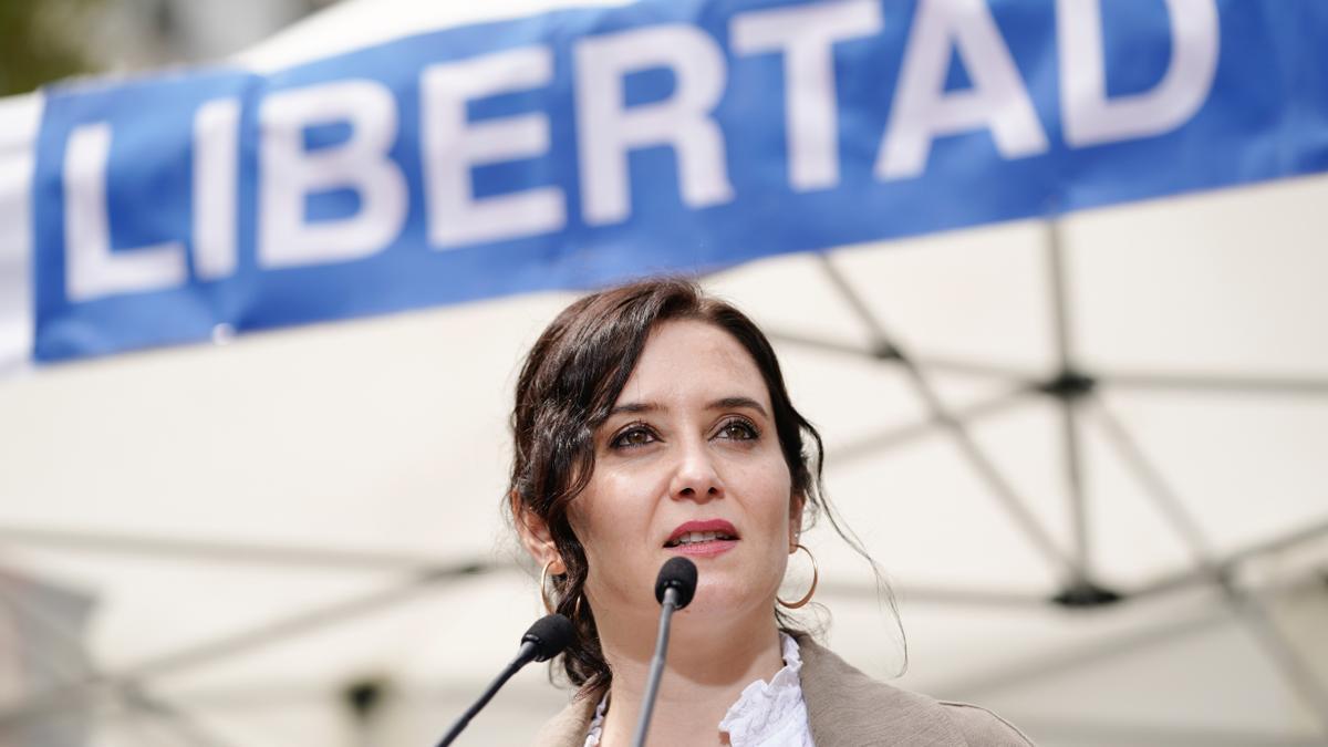La presidenta madrileña, Isabel Díaz Ayuso, en un acto de campaña.
