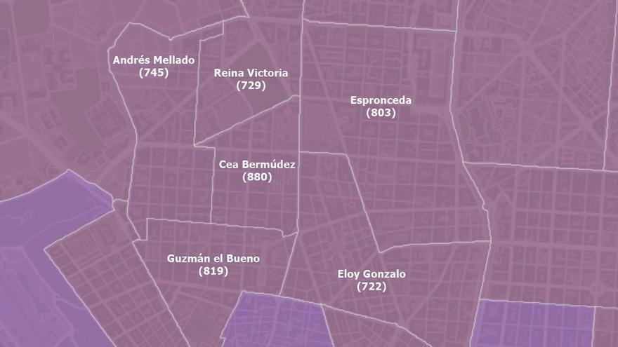 Los casos de coronavirus se disparan en tres áreas de salud de Chamberí sin confinar
