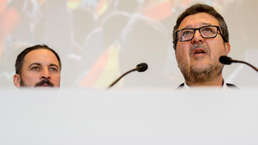 Rueda de prensa del presidente de Vox, Santiago Abascal, y del candidato del partido a la Presidencia de la Junta, Francisco Serrano.