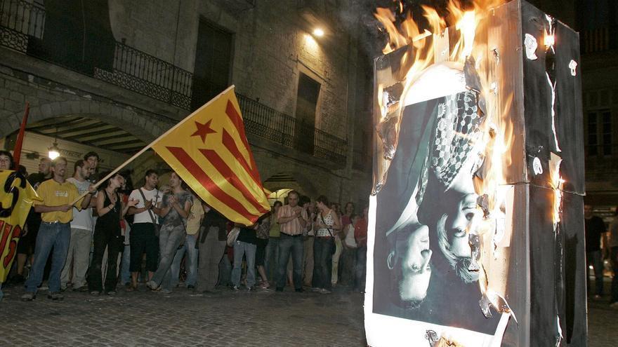 Imagen de hemeroteca de las protestas en 2007 por la presencia del rey Juan Carlos en Girona