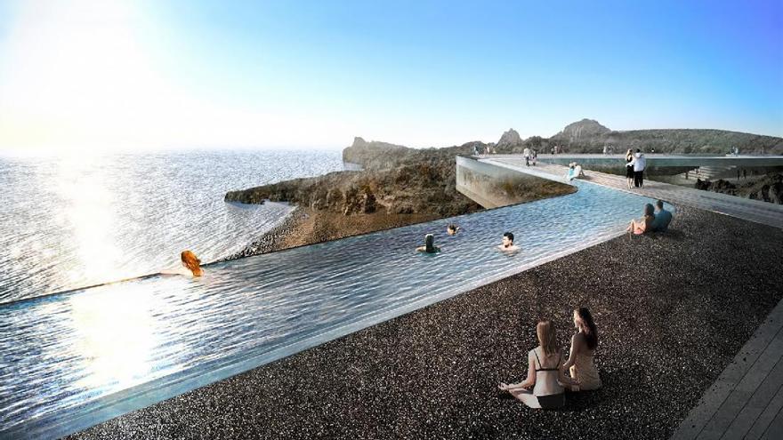 El diseño del balneario palmero se concibe como un charco desplegado, como una nueva línea de costa suspendida.