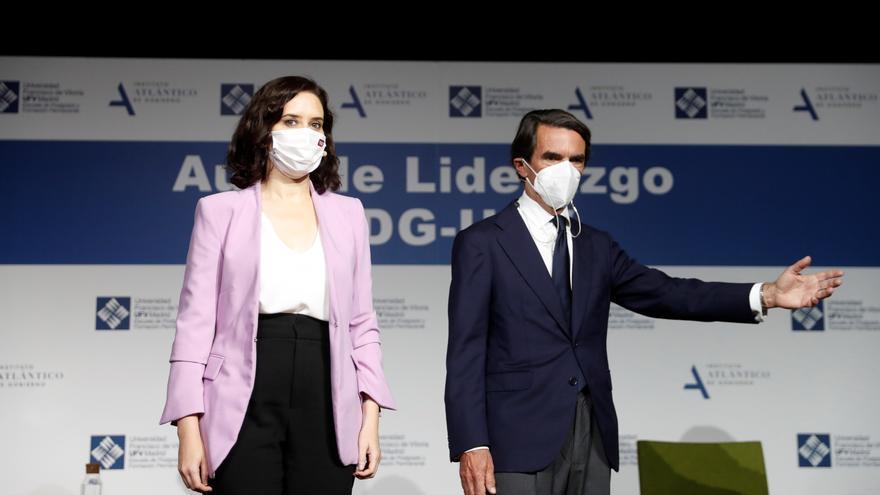 La presidenta de la Comunidad de Madrid, Isabel DíazAyuso, y el expresidente del Gobierno José MaríaAznar.