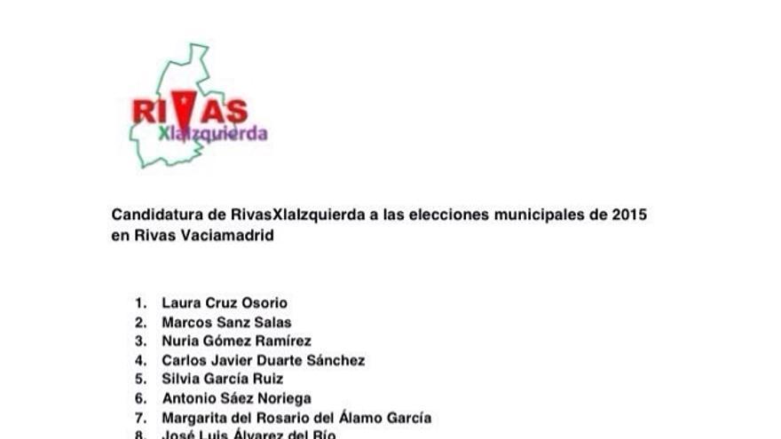Candidatura de RivasXlaIzquierda al Ayuntamiento de Rivas Vaciamadrid, encabezada por Laura Cruz