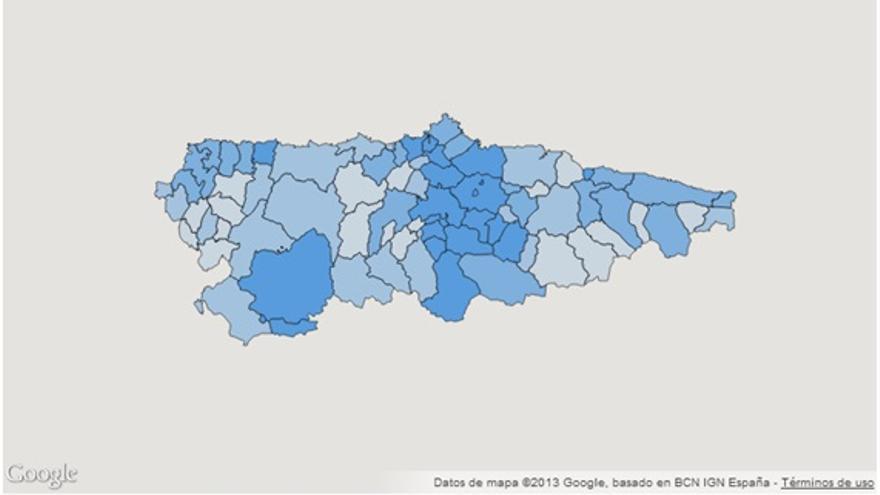 Imagen 5: Tasa de mortalidad ajustada por envejecimiento en Asturias. Distribución por concejos. Año 2012. Fuente: Observatorio de Salud de Asturias.