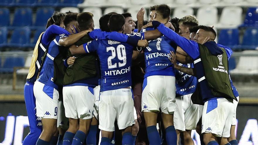 Vélez al clasificar a semifinales de la Sudamericana, en 2020