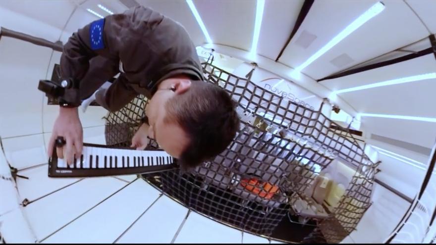 Música en el espacio. Fotograma del vídeo del proyecto Zero-Gravity Band