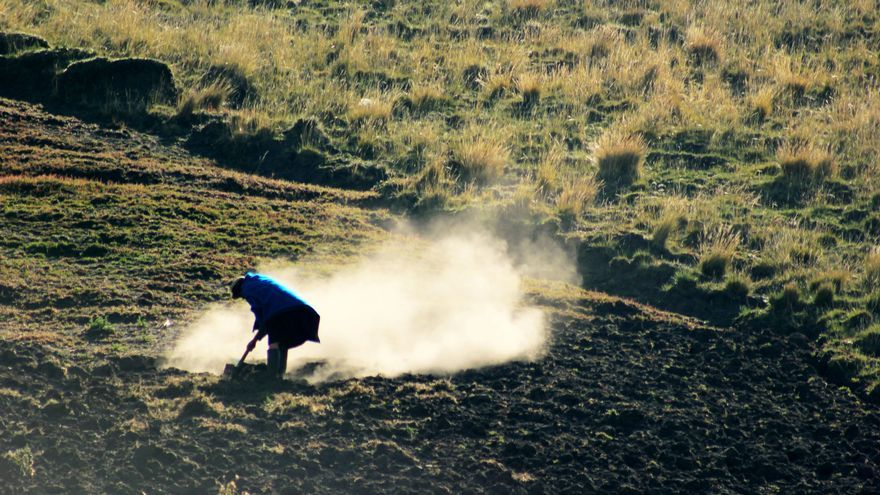 Una campesina trabaja la tierra en la provincia de Chimborazo, Ecuador   FOTO: Jaime Giménez