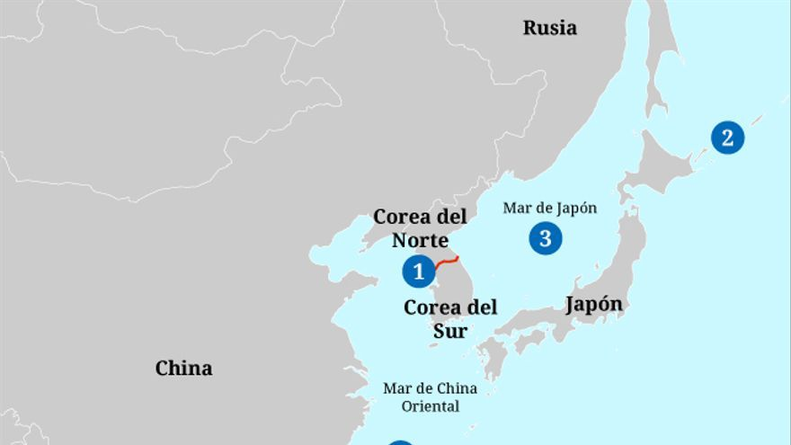 Territorios en disputa entre China y Japón