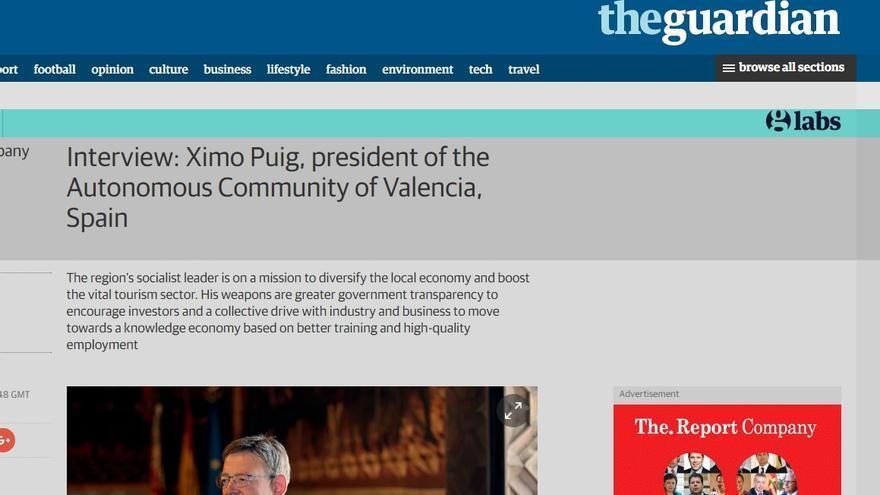 Captura de pantalla de la entrevista de The Report Company a Ximo Puig publicada en The Guardian.