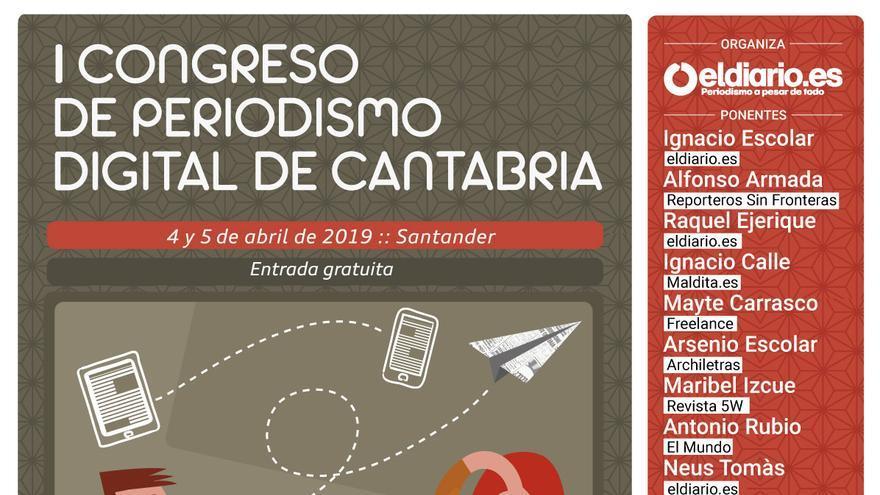 Cartel del I Congreso de Periodismo Digital de Cantabria.
