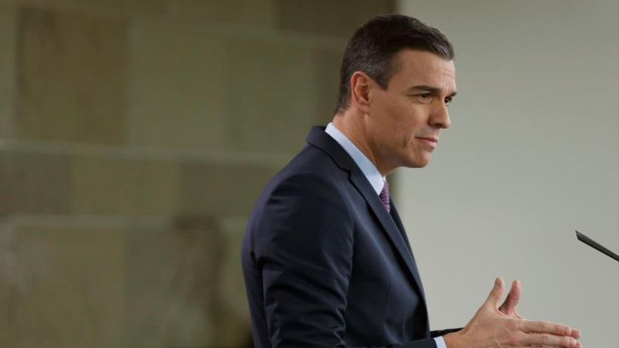 Pedro Sánchez en su última comparecencia en Moncloa.