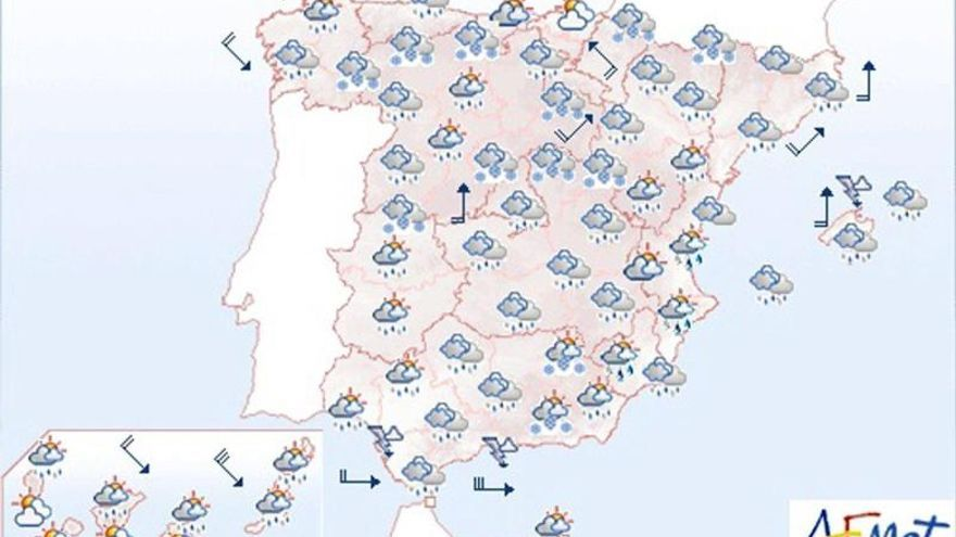 Lluvias en Andalucía y nevadas en cotas bajas del noroeste peninsular