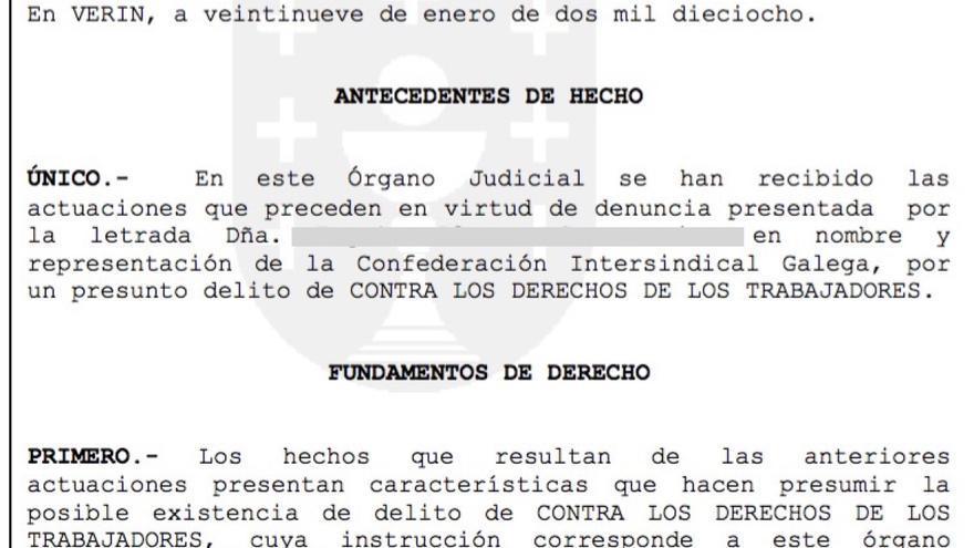 Auto judicial de la apertura de la investigación por las muertes en las obras del AVE gallego