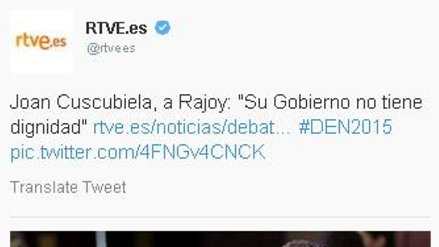 El portavoz de ICV en el Congreso, Joan Coscubiela, sin el lazo naranja en apoyo a los trabajadores de RTVE.