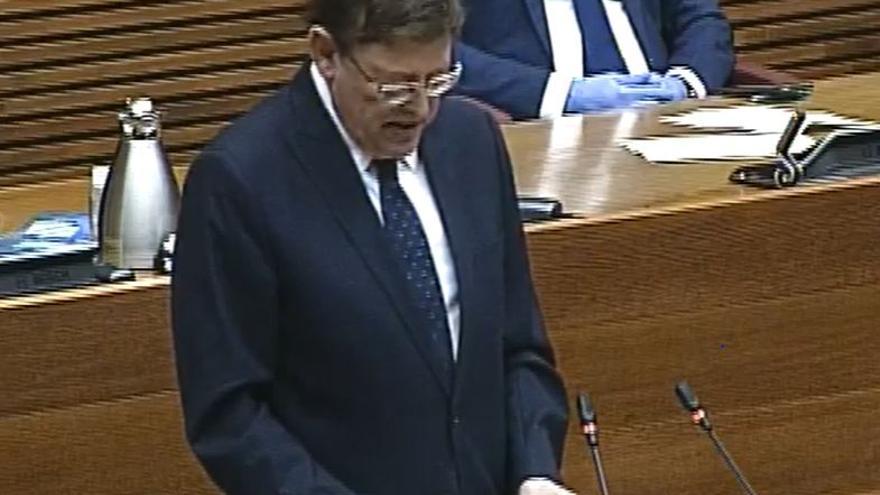 Ximo Puig, durante la lectura de su discurso ante la Diputación Permanente.