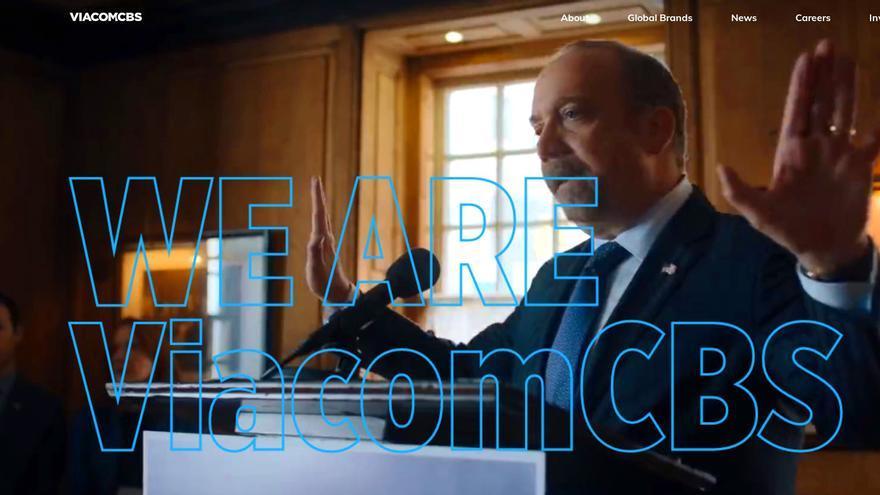 Imagen de bienvenida en la página web de ViacomCBS