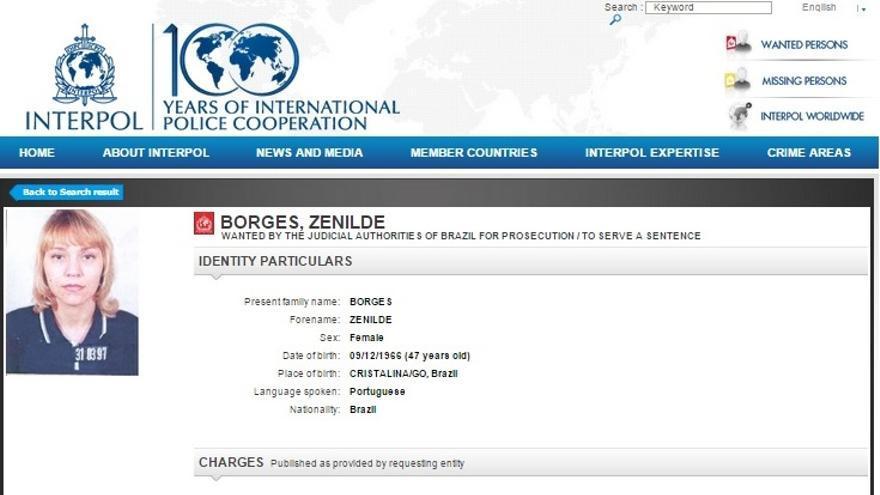 Orden internacional de arresto sobre Zenilde Borges en la web de Interpol.
