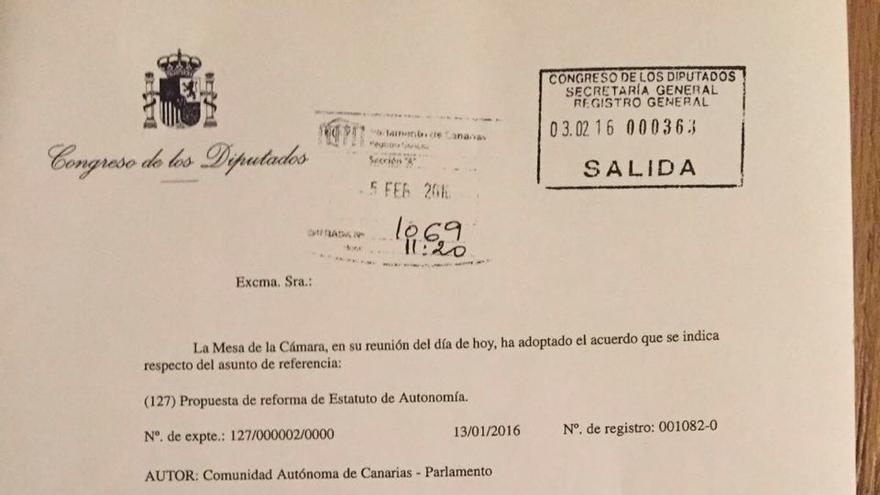 Escrito por el que Patxi López inicia los trámites para debatir la reforma del Estatuto de Canarias