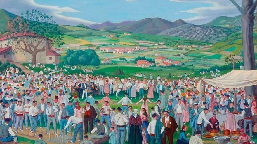 Más de 200 figurantes representan en Orozko 'Romería', el cuadro pintado por José Arrúe en 1921