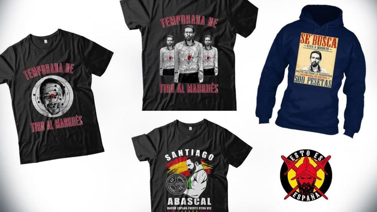 Imágenes de las camisetas denunciadas por Facua ante la Fiscalía.
