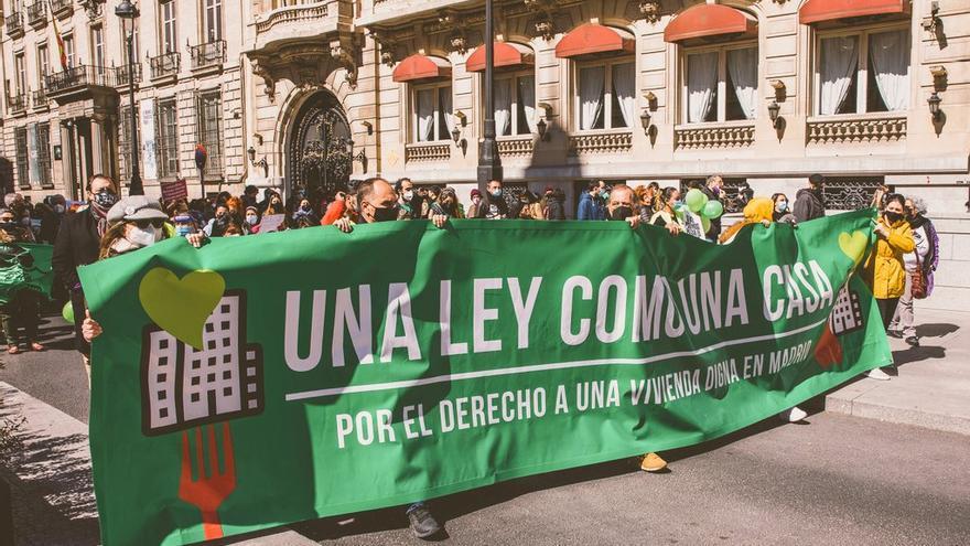 Manifestación por una ley de vivienda el 20 de marzo en Madrid.