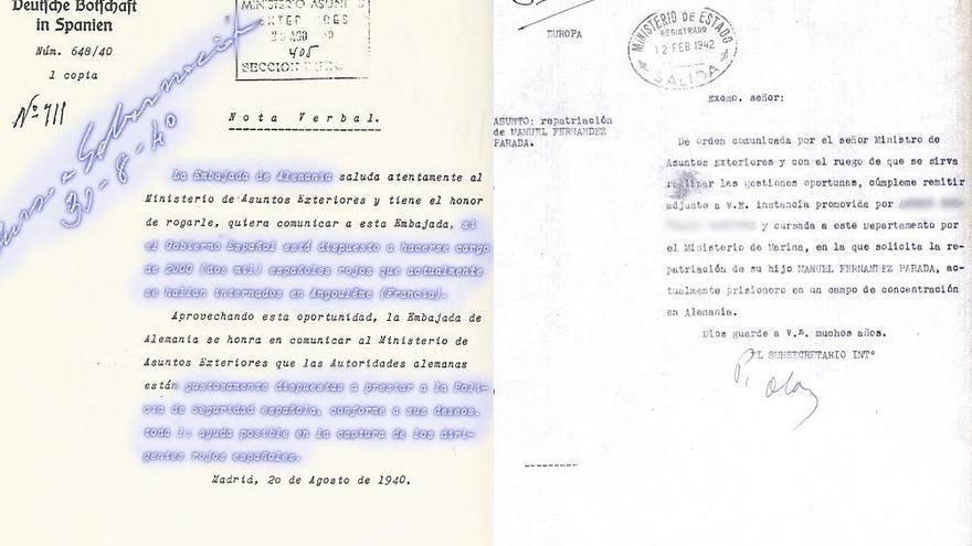 A la izquierda, carta enviada por la Embajada alemana en Madrid preguntando qué hacer con 2.000 españoles refugiados. A la derecha, carta enviada a la Embajada española en Berlín, por orden de Serrano Súñer, para que gestionara la liberación de un prisionero español de Mauthausen. Cuando llegó la orden, ya había fallecido.