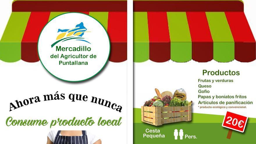 Cartel del nuevo sistema de pedidios del Mercandillo de Puntallana.