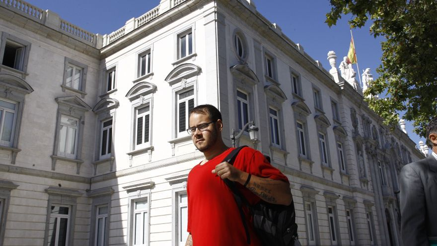 Imagen de archivo del rapero Pablo Hasel tras acudir a declarar en la Audiencia Nacional