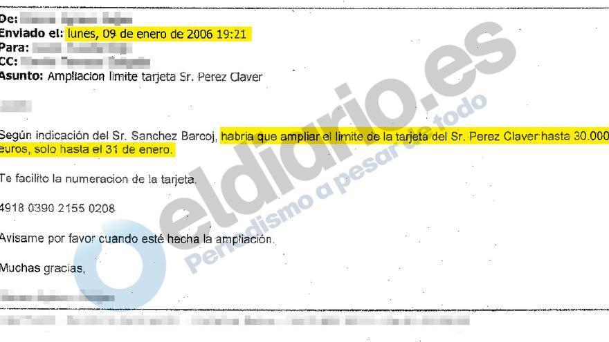 Ampliación del límite de la tarjeta de Pérez Claver en enero de 2006
