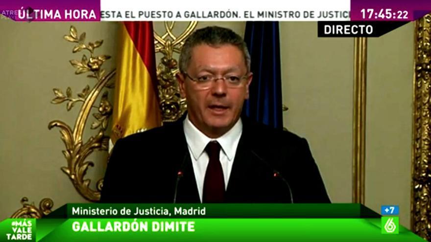 La dimisión de Gallardón: laSexta lo da íntegro en directo, y TVE llega más tarde que 'Sálvame'