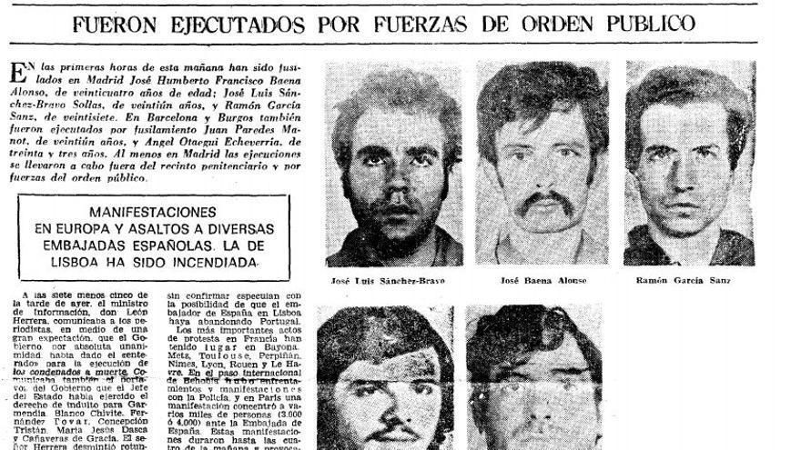 La prensa recoge su fusilamiento, un 27 de septiembre