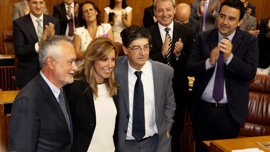 José Antonio Griñán, Susana Díaz y Diego Valderas, durante el Gobierno de coalición PSOE-IU.