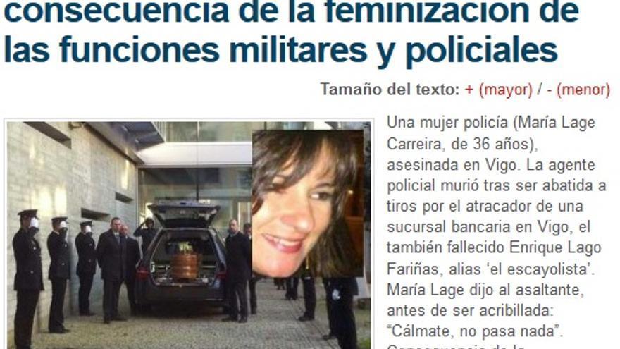 Pantallazo del artículo sobre el asesinato de la policía en Alerta Digital.