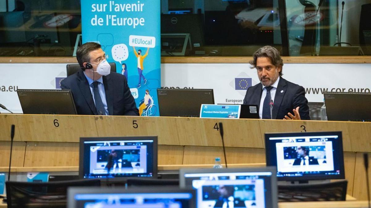 Gustavo Matos durante su intervención en el encuentro 'El lugar de las regiones en la arquitectura de la UE en el contexto de la Conferencia sobre el Futuro de Europa'