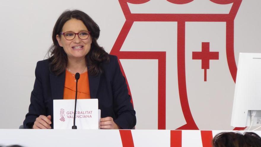 Mónica Oltra, este viernes en la rueda de prensa sobre el pleno del Gobierno valenciano.