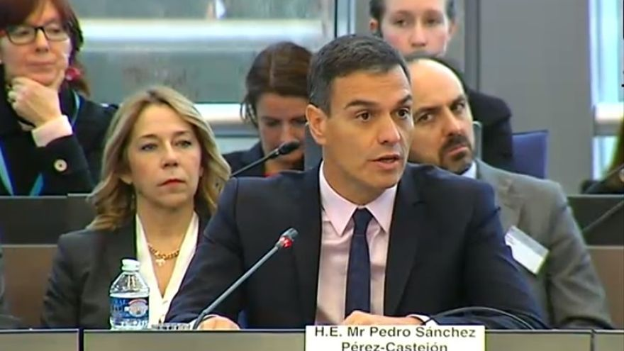 Sánchez defiende la democracia avanzada que es España ante el Consejo de Europa en vísperas del juicio al 'procés'