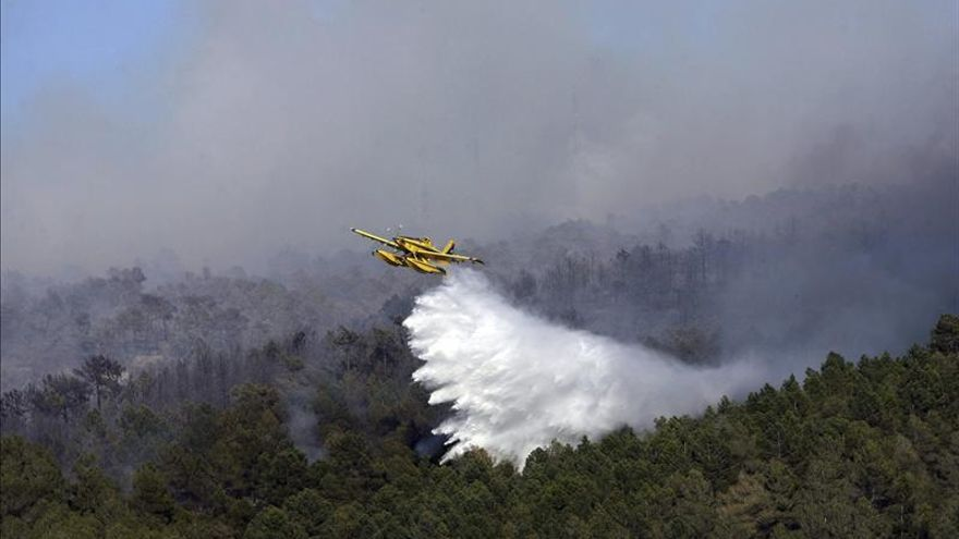 Un hidroavión en las tareas de extinción de un incendio en Tarragona. Foto: Efe