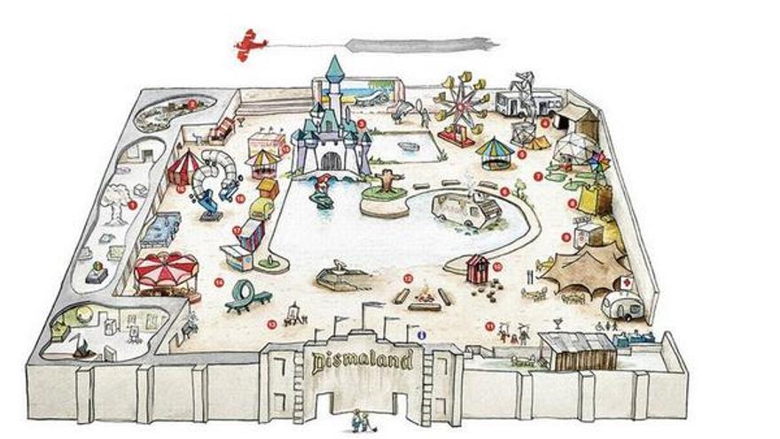 Un mapa del parque temático. Foto: Banksy