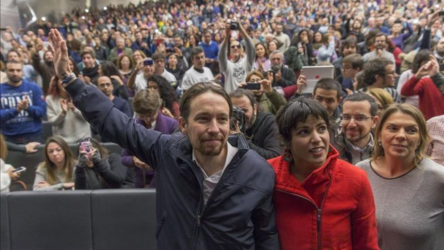 Pablo Iglesias, Teresa Rodríguez y Begoña Gutiérrez.