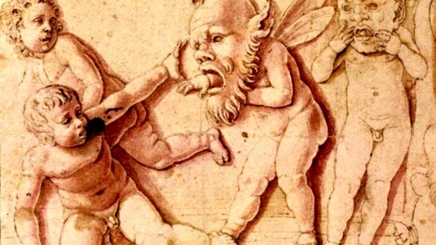 """Andrea Mantegna. """"Niños jugando con máscaras"""" (detalle). 1495"""