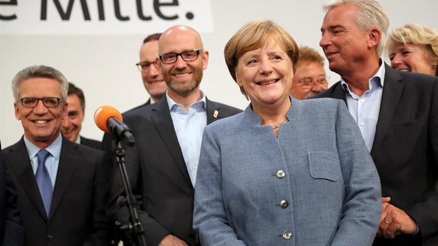Angela Merkel, tras conocerse su victoria en las elecciones alemanas.