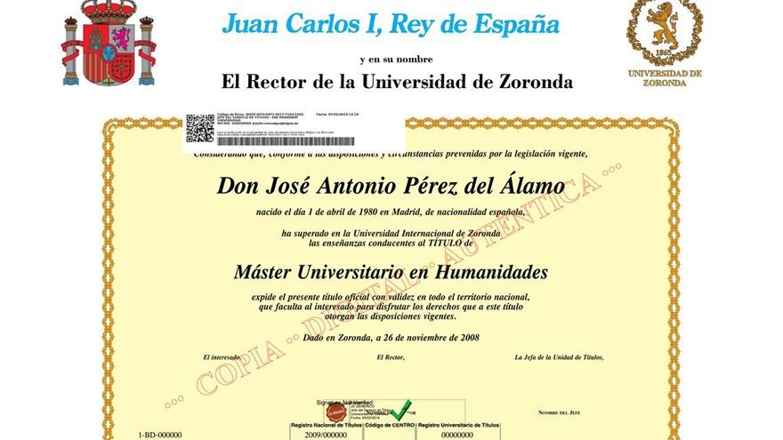 Un ejemplo de una copia del título universitario comercializado como etitulo