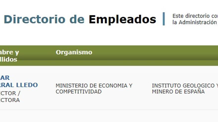 Pantallazo de la intranet de la Administración General con los cargos duplicados.