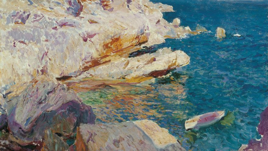 'Rocas de Jávea y el bote blanco', de Joaquín Sorolla y Bastida