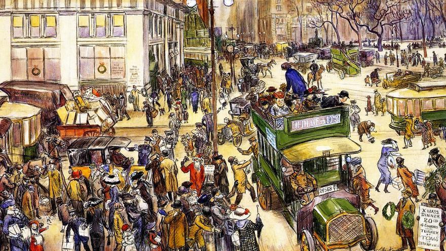 William James Glackens. Compradores en Navidad. 1912.