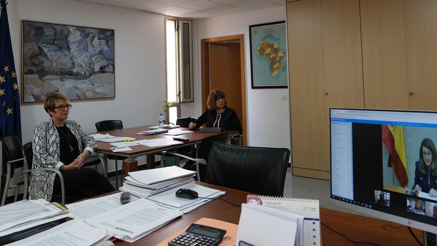 Elena Máñez siguiendo la videoconferencia.