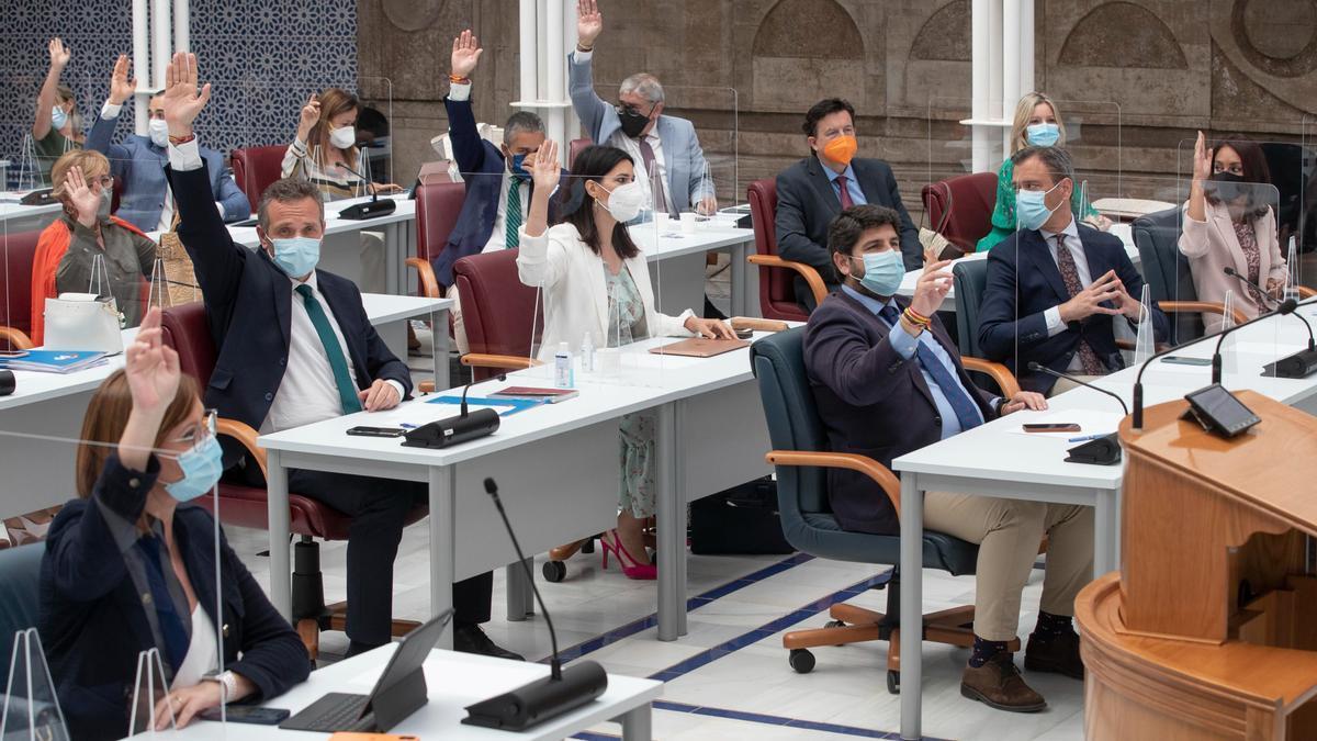 Votación durante una sesión plenaria en el parlamento autonómico murciano
