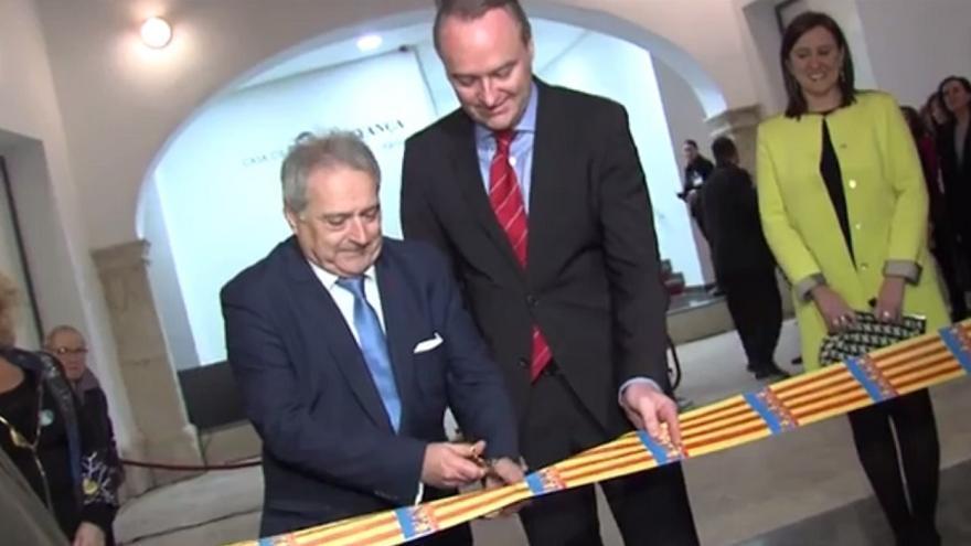 Alfonso Rus y Alberto Fabra, durante la inauguración de un museo en Xàtiva